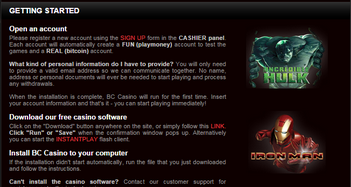 BC Casino Getting Started page