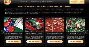 Bitcoin Rush Casino Home Page