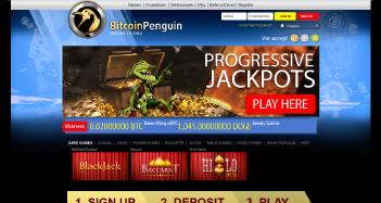 Bitcoin Penguin Casino Home Page