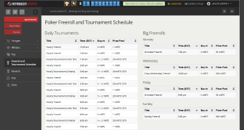 Nitrogen Sports Poker and Tournament Schedule