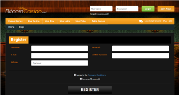 Bitcoin Casino Sign Up Page