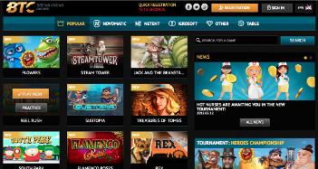 BTC Casino Home Page