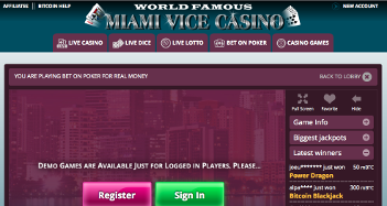 Miami Vice Casino Home Page